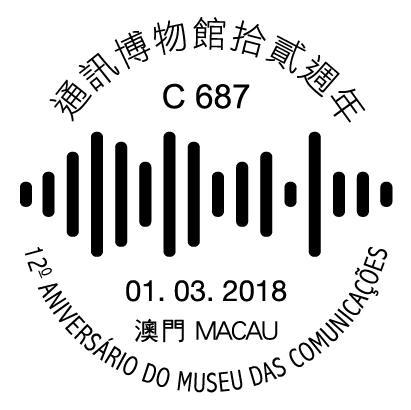 澳门3月1日『通讯博物馆拾贰周年』纪念邮戳